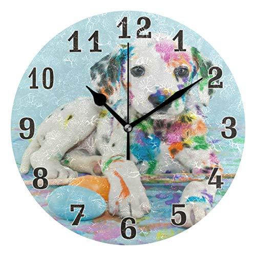linomo Wanduhr, Motiv: niedliches Hundeei, geräuschlos, Nicht tickend, runde Uhr für Küche, Wohnzimmer, Schlafzimmer, Badezimmer, Büro