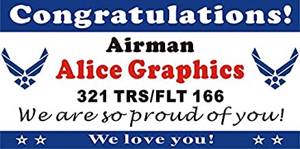 [Vinyl] Alice Graphics 2ftX4ft Custom Personalized Congratulations Airman US Air Force Basic Military Training (BMT) Graduation Banner Sign or Welcome Home Banner (2 USAF Logos)