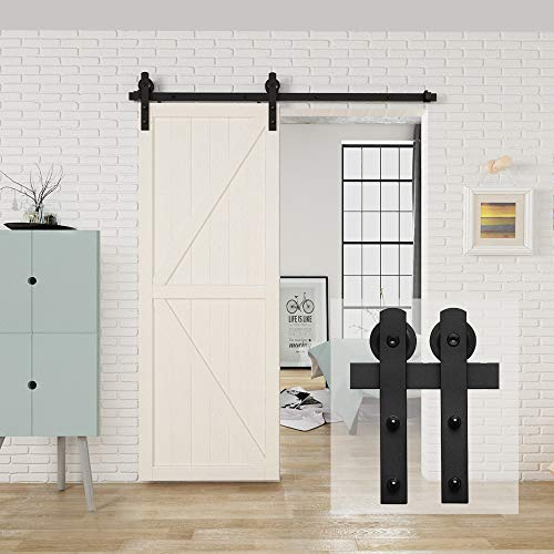 "HomLux 5ft Heavy Duty Sturdy Sliding Barn Door Hardware Kit, Single Door-Smoothly and Quietly, Easy to Install and Reusable - Fit 1 3/8-1 3/4"" Thickness & 30"" Wide Door Panel, Black(I Shape Hanger)"