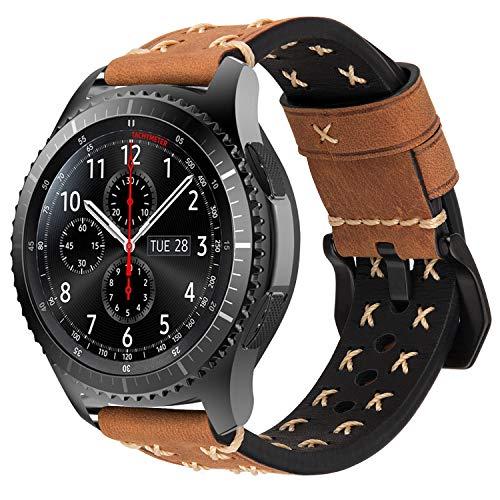 iBazal Correas Galaxy Watch 46mm Cuero 22mm Bandas Piel Pulseras Compatible con Samsung Galaxy Watch 3 45mm/Gear S3 Frontier Classic Reemplazo para Huawei Watch 2 Classic/GT 46mm,Ticwatch Pro - Marrón