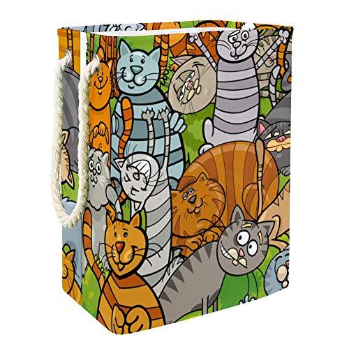 Gatos de Dibujos Animados Gris Amarillo Cesta de Almacenamiento Plegable para Guardar Juguetes para Bebés y Niños 49x30x40.5cm