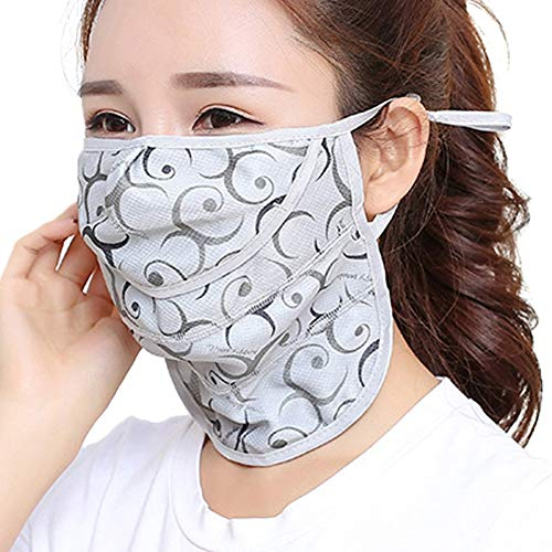face mask for women Outdoor Face Mask for Women Thin Face Mask Reusable Windproof (Gray Circle)