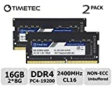 Timetec Hynix IC DDR4 2400MHz PC4-19200 Non ECC Unbuffered 1.2V CL17 2Rx8 Dual Rank 260 Pin SODIMM Laptop Notebook Computer Memory Ram Module Upgrade (16GB(2x8GB))
