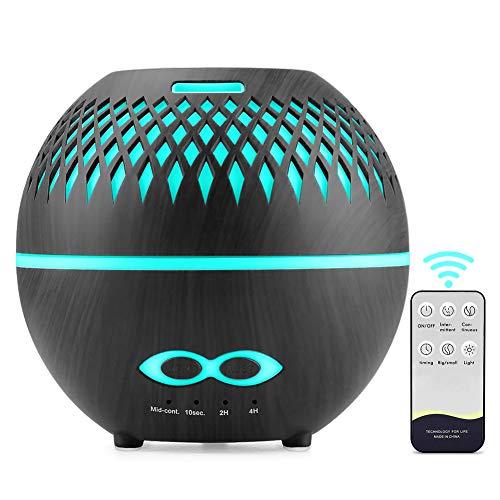 tronisky Aroma Diffuser 400ml, Luftbefeuchter Ultraschall Duftlampe mit 7 Farben LED, BPA-Frei Aromatherapie Ätherische Öle Diffuser Raumbefeuchter für Yoga, Büro, SPA, Schlafzimmer - Schwarz