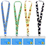 Exemption Card Sunflower Neck Lanyard with Card Holder, Includes 4PCS Sunflower Neck Lanyard