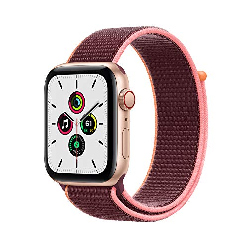 New Apple Watch SE (GPS + Cellular, 44mm) - Gold Aluminum Case with Plum Sport Loop