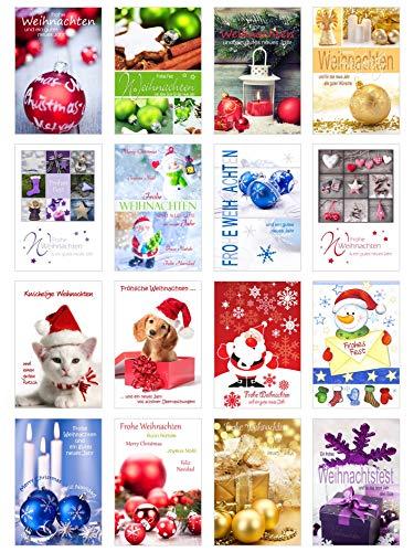 Set di 16 biglietti di Natale con busta (biglietti pieghevoli), cartoline natalizie