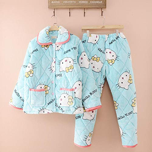 BAIMM Damen Winter Coral Velvet Gesteppte Pyjamas Hello Kitty dreischichtigen dicken langärmeligen warmen Anzug zu Hause Service .XXL