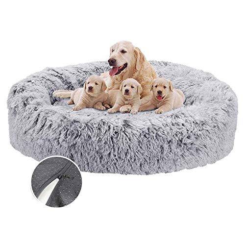 Haustierbett Plüsch Grau Donut Rund Tierbett weich, Hundesofa Weicher Waschbar Katzenbett, für mittlere und groß Hunde, Sehr weich, Maschinenwaschbar - Ø 80cm
