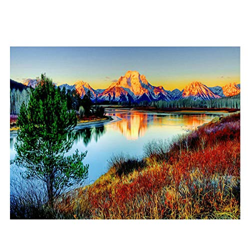 OLGKJ Sonnenuntergang Berg DIY Gemälde nach Zahlen Abstrakt See Ölgemälde Auf Leinwand Baum Acryl Wandkunst Geschenk