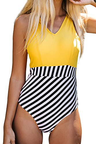 CUPSHE Women's Yellow V Neck and Striped Bottom One Piece Swimsuit, XXL