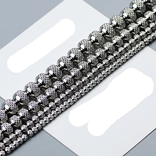Cuentas de acero inoxidable con forma de rejilla / neumático, 3 4 6 8 mm, espaciador redondo, cuentas sueltas para joyería, collar, pulsera, fabricación de bricolaje, 6 mm (0,236 pulgadas), 50 pie
