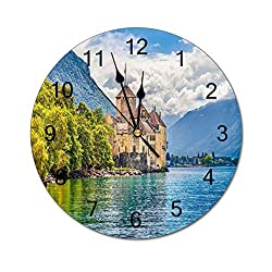Silent Wooden Wall Clock, Chateau De Chillon Geneva Lake Nature 16 in Battery Operated Quartz Clock Easy to Read Farmhouse Decorative Wall Art