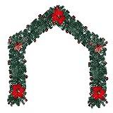 RADCANE Ghirlande Natalizie 2.7m Alberi in Ghirlanda Artificiali con Stella di Natale Artificiale Ghirlanda di Abete Verde Artificiale Natalizia per Porta Balcone Scale Caminetti Albero di Natale