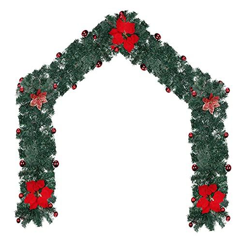 RADCANE 1 Pcs Guirnalda de Navidad Planta Guirnalda de Navidad Artificial Guirnalda Decorada Guirnalda Navidad Exterior Decoracion de Navidad para Chimenea Puerta Escalera Arbol de Navidad 2.7m 🔥