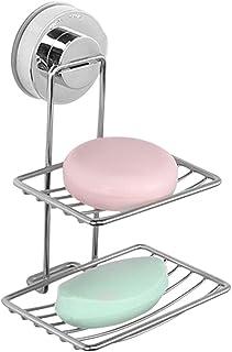CUTICATE バスルームステンレスサクションカップバーソープホルダー排水オーガナイザー壁掛けソープディッシュスポンジホルダーネイルフリー