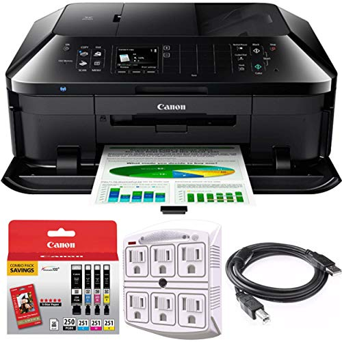 Canon PIXMA MX922 Wireless Inkjet Office All-in-One Printer Bundle with PGI-250 Pigment Black XL Ink Tank, 6-Outlet Surge Adapter with Night Light, 6ft USB Printer Cable and 1 Year Extended Warranty