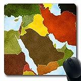 Jamron Tapis de souris OblongBlue Carte arabe Moyen-Orient Asie Syrie Israël Irak Textures Iran Oman Qatar Turquie Yémen Tapis de souris en caoutchouc antidérapant traditionnel Bureau Ordinateur porta