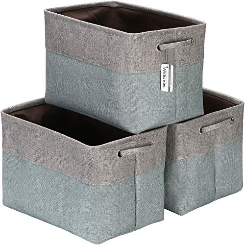 Sea Team 3-Pack Large Storage Basket Set, Trunk Organizer, Clothes Toys Bin, 15 x 10 x 10 Inches, Big Rectangular Canvas Fabric Collapsible Shelf Box with Handles for Kids Room (Grey/Stone Blue)