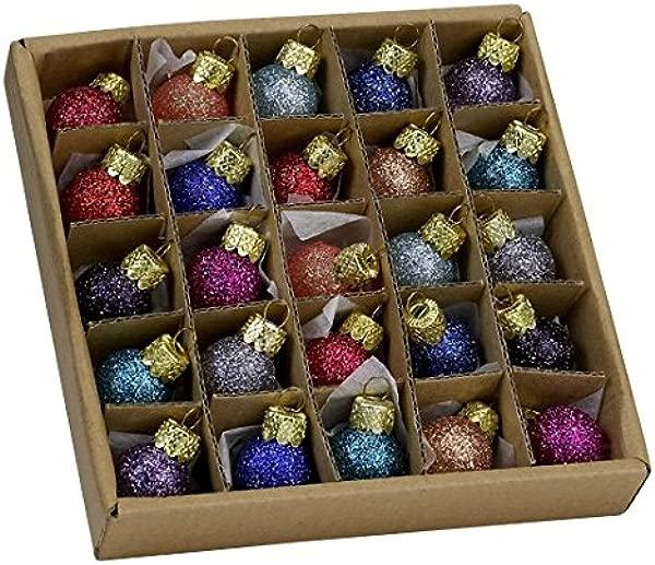 Kurt Adler 78 Glitter Glass Ball Ornaments 25 Pieces C1962 By Kurt Adler