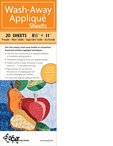 """Wash-Away Applique Sheets: 25 Sheets * 8 1/2\"""" x 11\"""" * Printable * Water Soluble * Single-Sided Fusible * ECO-Friendly: 20 Sheets • 8 1/2"""" x 11"""" • ... Soluble •Single-Sided Fusible • ECO-Friendly"""