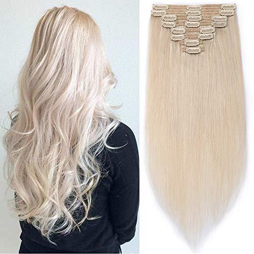 SEGO Extensions a Clip Cheveux Naturel Remy Human Hair Double Wefts - 45 CM 70#Blanc Clair - (Maxi Epaisseur) Bande a Froid sans Loop Invisible