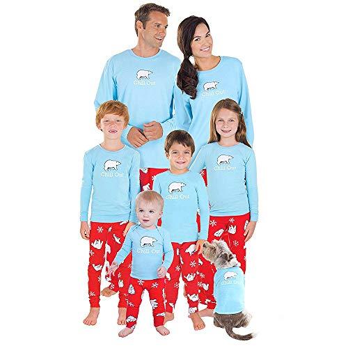FRAUIT Weihnachten Familie Pyjamas Nachtwäsche Schlafanzug Kleidung Sets Eltern/Pap/Mutter/Kind/Baby Warm Weich Bequem 100% Baumwolle Gesundheit