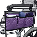 Wheelchair Side Bag with Pouches and Reflective Stripe, Wheelchair Armrest Side Organizer for Electric Wheelchairs, Manual Wheelchair Lightweight and Easy to Use (Purple)