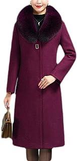 Macondoo Women's Faux Fur Collar Thick Wool Blended Overcoat Winter Long Jacket Coat