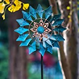SteadyDoggie Wind Spinner Emerald 155cm (61in) Single Blade Easy Spinning Kinetic Wind Spinner for Outside – Vertical Metal Sculpture Stake Construction for Outdoor Yard Lawn & Garden