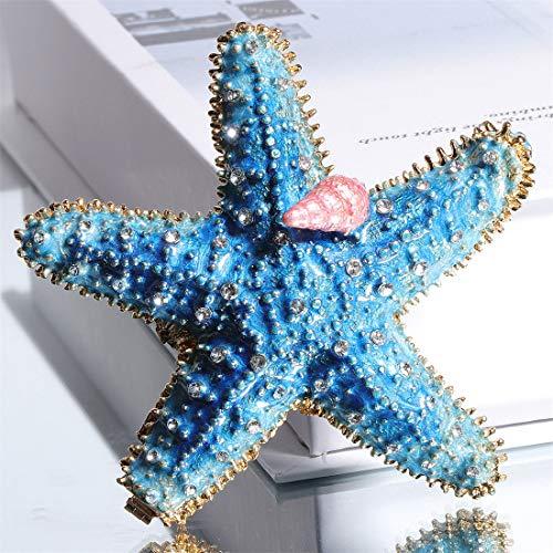 Waltz&F starfish Trinket Box Hinged Hand-painted Figurine Collectible Ring Holder