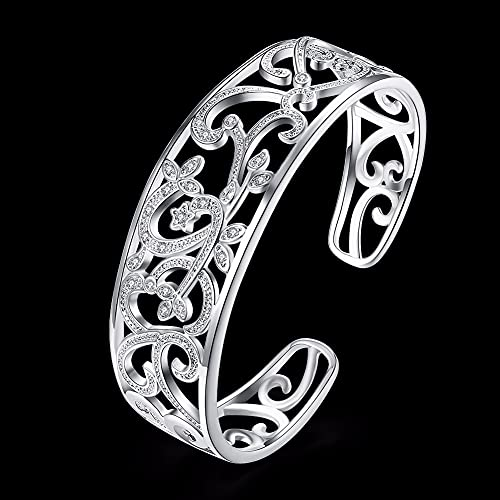 925 Sterling Silver Hollow Branch Bracelets For Women High Elegant Gift