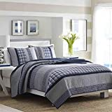 Nautica Home | Adleson Collection | 100% Cotton Reversible and Light-Weight Quilt Bedspread, Pre-Washed for Extra Comfort, Easy Care Machine Washable, Full/Queen, Blue/Grey