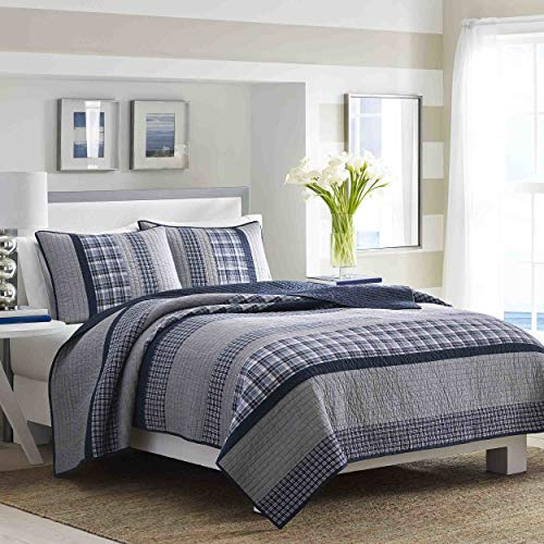 Nautica | Adleson Collection | 100% Cotton Reversible and Light-Weight Quilt Bedspread, Pre-Washed for Extra Comfort, Easy Care Machine Washable, Full/Queen, Blue/Grey