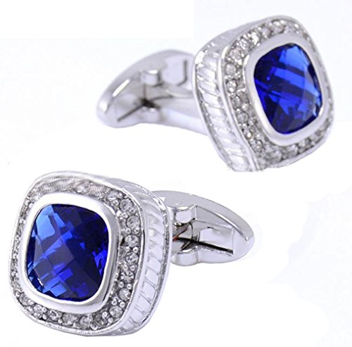 Gudeke Aristocratique cristal pierre de champagne bleu boutons de manchette de chemise d'homme français (bleu )