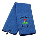 JXGZSO Dad Golf Towel Embroidered Golf Towel Gift Golf Father Gift Embroidered Golf Towel with Clip (Best dad by par)