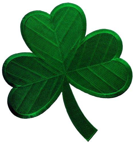 Large Green Irish Clover Embroidered Patch Lucky Shamrock Iron-On Ireland Emblem