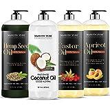 Majestic Pure Hemp Seed Oil, Fractionated Coconut Oil, Castor Oil, and Apricot Oil Bundle, 16 fl oz each