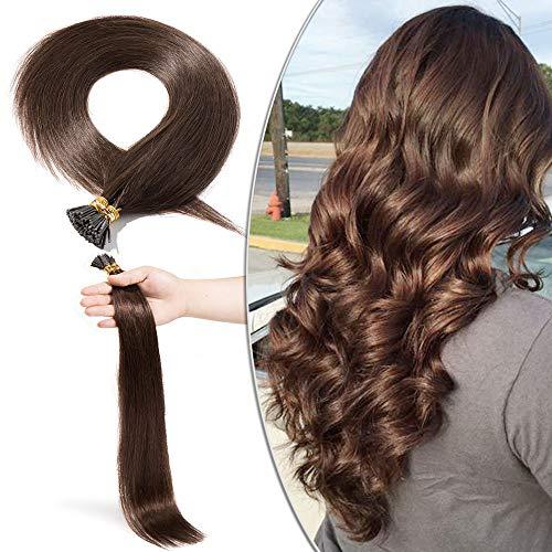 Elailite Extension Capelli Veri Cheratina 100 Ciocche I Tip 50g #4 Marrone Cioccolato Remy Human Hair Keratina Naturali Lisci Donna Bellezza
