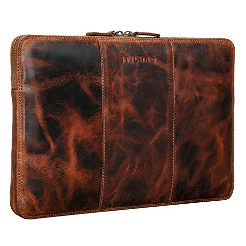 STILORD 'Wilson' Laptop Case 13,3 inch leer voor MacBook Vintage Notebook Case voor 13 tot 14 inch MacBook Tablet Case Conference Folder DIN A4 echt leer, Kleur:kara - cognac