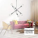 E-L Kronleuchter Lights-Modern Contemporary Sputnik Kronleuchter Lampe Pendelleuchte Messing Kronleuchter Mid Century Gold Deckenleuchte Leuchte für Flur Bar Küche Esszimmer, Silber