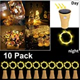 10 Pack LED Solar Wein Flasche Lichter, ALED LIGHT 1 Meter 10 Lichter Cork Shaped Light Kupferdraht...