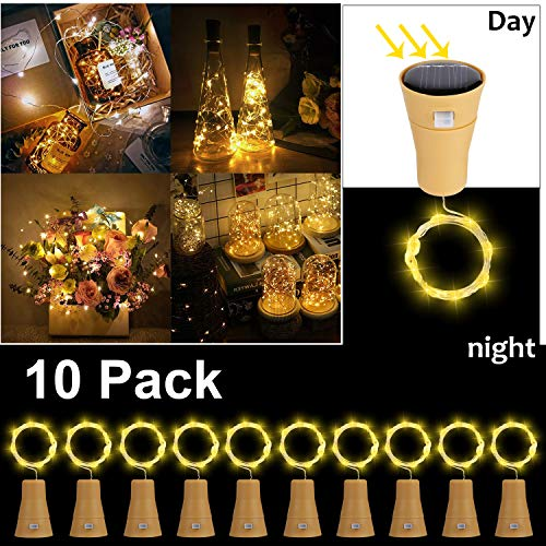 10 Pack LED Solar Wein Flasche Lichter, ALED LIGHT 1 Meter 10 Lichter Cork Shaped Light Kupferdraht Starry String Lights Für Flasche DIY/Hochzeit/Weihnachten/Erntedankfest/Dating Warmweiß