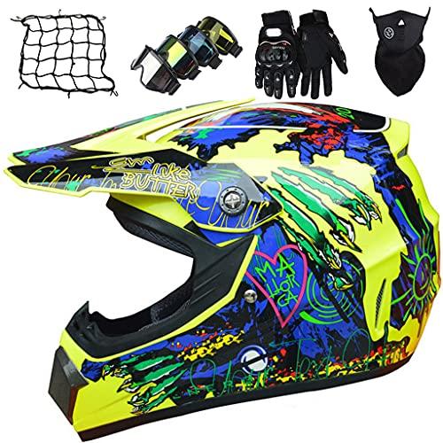 Casco de Motocicleta, Conjunto de Casco de Motocross Niños con Gafas/Guantes/Máscaras/Red elástica, Casco Integral MTB Enduro Quad Bike ATV Go-kart, Amarillo