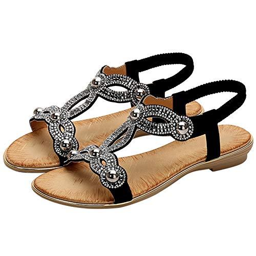 Bigtree Sandalen für Damen Bohemian Zehe öffnen Elastischer Knöchelriemen Sommer Strand Flache Mini Wedge Flip Flops Schwarz 39 EU