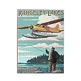Rangeley Lakes, Maine - Puzzle con imagen de hidroavión y pescador 500 piezas