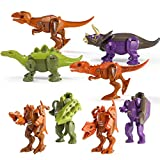 4PCS Dinosaur Robot Transforming Toys, 2 in 1 Jurassic Dino, Transformers Dinosaurs, Flexible Limbs&Openable Mouth&Manipulator Transforming, Action Figures Gift for Kids Age 6 7 8 9 10