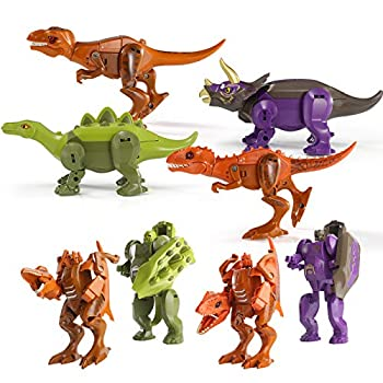 4PCS Dinosaur Robot Transforming Toys 2 in 1 Jurassic Dino Transformed Dinosaurs Flexible Limbs&Openable Mouth&Manipulator Transforming Action Figures Gift for Kids Age 6 7 8 9 10
