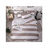 寝具セットホームテキスタイル4ピース羽毛布団カバーシート枕カバーシート快適なファッション暖かい縞模様の女の子の寝室ダブル,2.0mbed