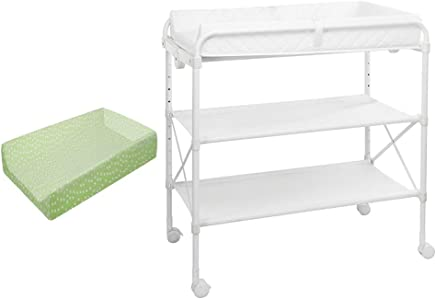 ZAQI Folding Changing Table Wheel With Pad White  Nursery Organizer For Baby Infant Children